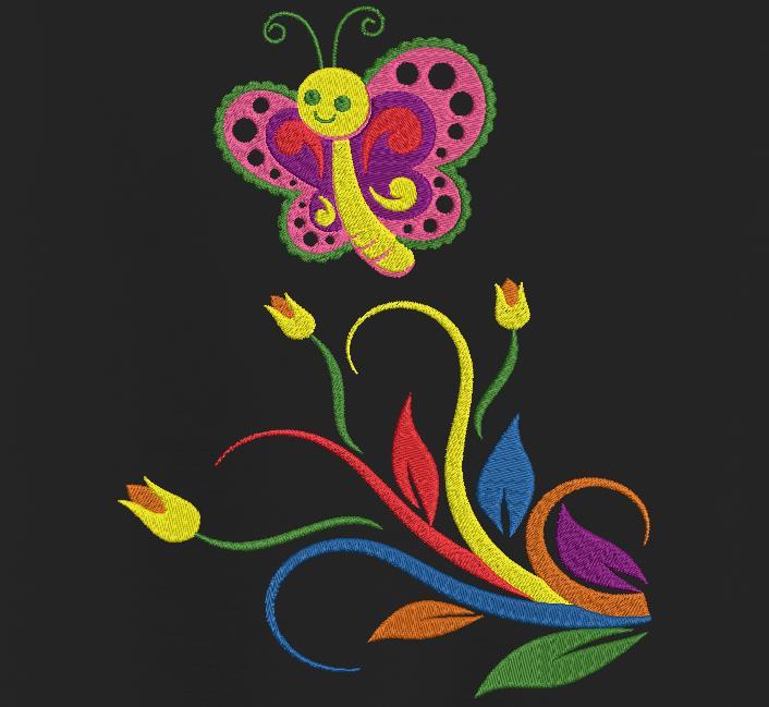 papillon et fleurs multicolores motif de broderie machine