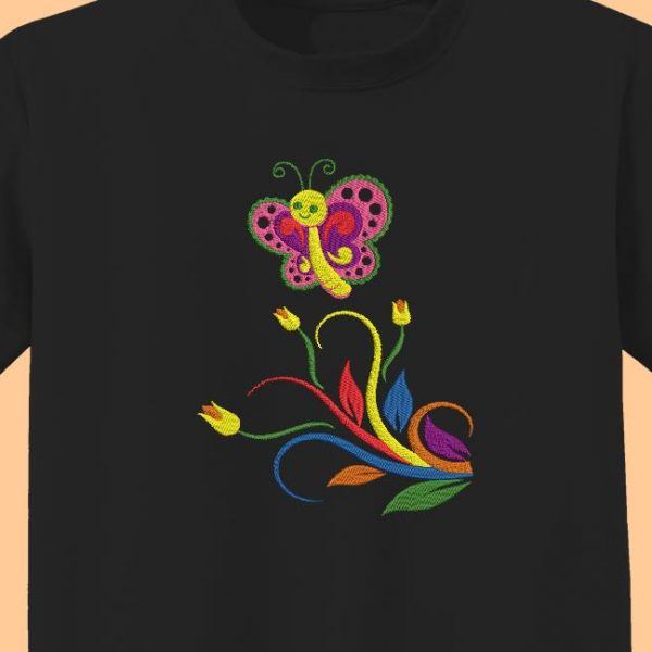 multicolored butterfly and flowers machine embroidery design