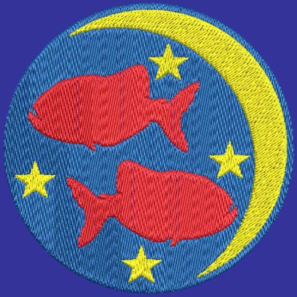poisson signe du zodiaque motif de broderie machine