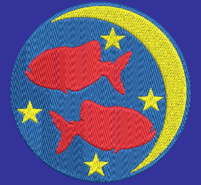 fish zodiac sign machine embroidery design