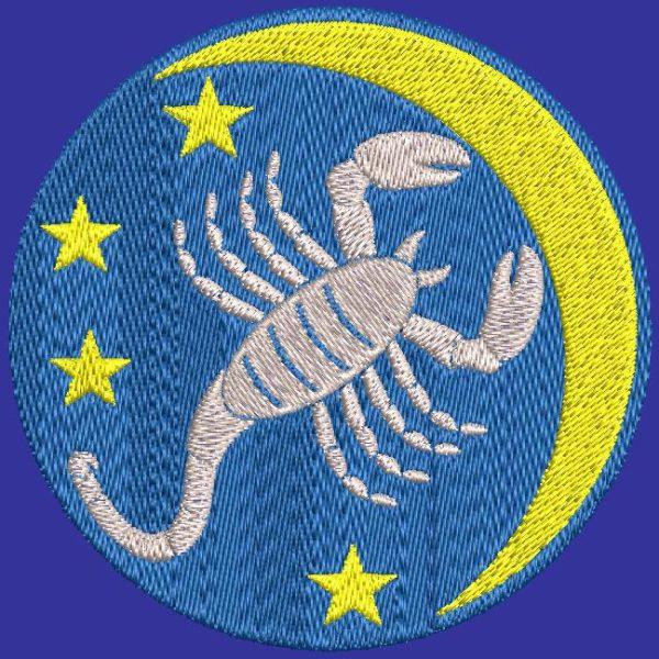 scorpion signe du zodiaque motif de broderie machine