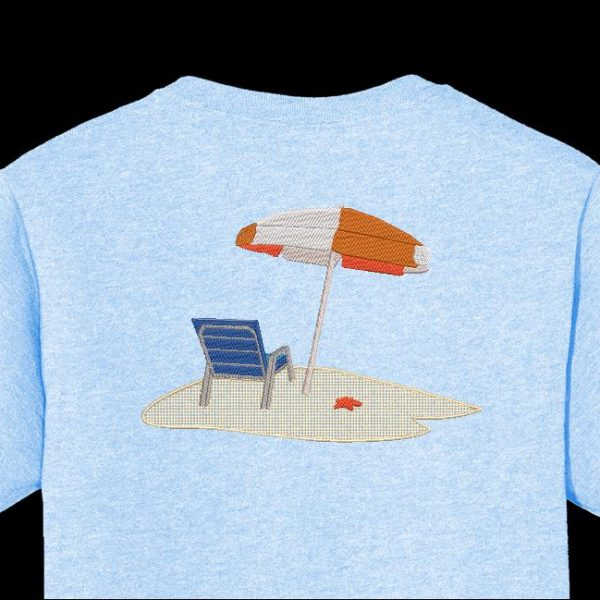 sozinho na praia Desenho de bordados à máquina de uma cadeira de praia com um grande guarda-sol branco e laranja e uma estrela do mar na areia fina da praia formatos de arquivo PES, CSD de 12 x 18/30 x 20 quadros, EXP, HUS, SHV, VIP, XXX, DST, PCS, JEF, VP3, SEW, EMB ... Download imediato