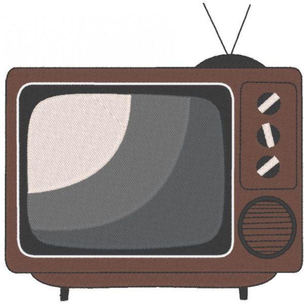 televisão vintage ou televisão quadro de desenho de bordado de máquina 13 x 18 formatos de arquivo PES, CSD, EXP, HUS, SHV, VIP, XXX, DST, PCS, JEF, VP3, SEW, EMB ... Download imediato
