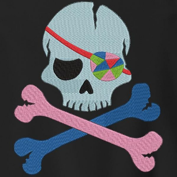 pirate skull with a multicolored eye patch Machine embroidery design frame 10 x 10/13 x 18/20 x 30 File formats PES, CSD, EXP, HUS, SHV, VIP, XXX, DST, PCS, JEF, VP3, SEW… Instant Download