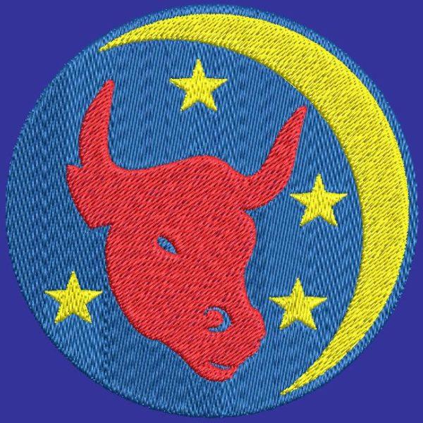 taureau signe du zodiaque motif de broderie machine