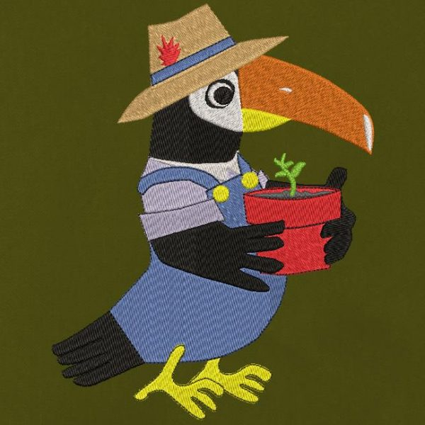 Tucano giardiniere Disegno di ricamo a macchina di un Tucano giardiniere con la sua tuta blu e il suo cappello di paglia con una piccola piuma. Tiene tra le mani o meglio nelle ali un vaso con una piccola cornice per piante 10 x 10/20 x 20 Formati file PES, CSD, EXP, HUS, SHV, VIP, XXX, DST, PCS, JEF, VP3, SEW , EMB ... Download immediato