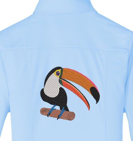 tucano em um galho desenho de bordado de um tucano muito bonito colocado em um galho com seu bico laranja grande e peitoral branco. Este pássaro está ameaçado de proteger a natureza e as espécies raras ... quadro 10 x 10/20 x 20 Formatos de arquivo PES, CSD, EXP, HUS, SHV, VIP, XXX, DST, PCS, JEF, VP3, SEW, EMB ...