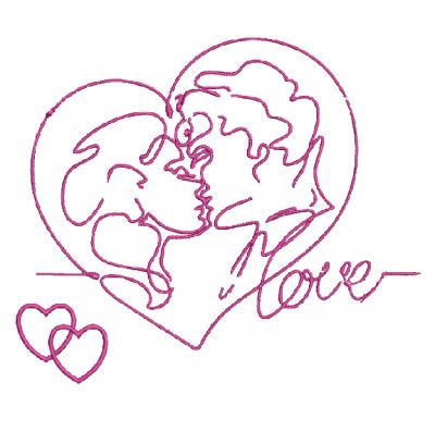 Motif broderie machine Coeur représentant un couple amoureux s'embrassant