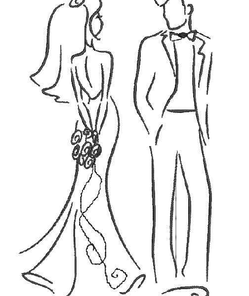 Motif broderie machine: couple de jeunes mariés
