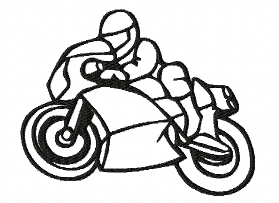 Machine embroidery design: Motorbike, mechanical sport