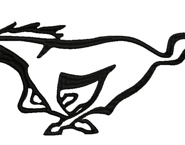 Motif broderie machiune: Cheval mustant élancé dans une course folle