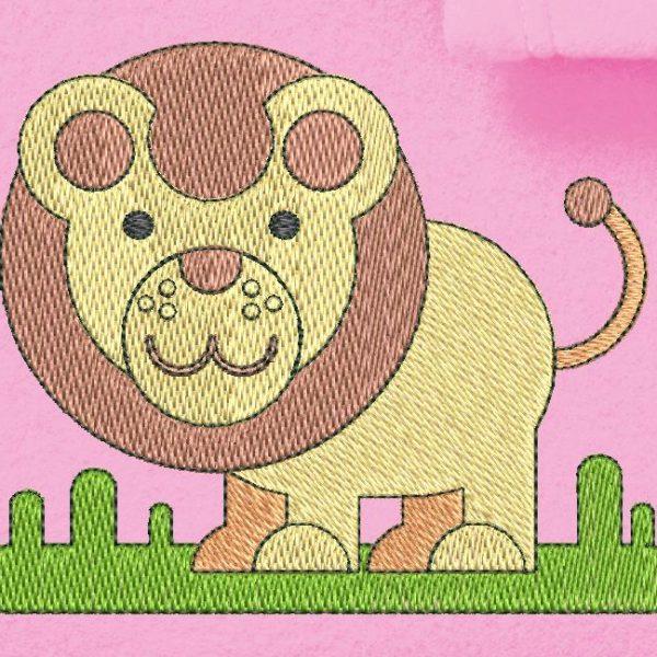 Desenho de bordado de máquina de um pequeno bebê leão ou melhor, um filhote de leão andando na savana.