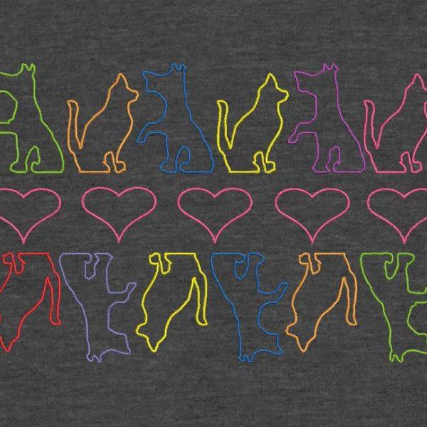 cães gatos e corações