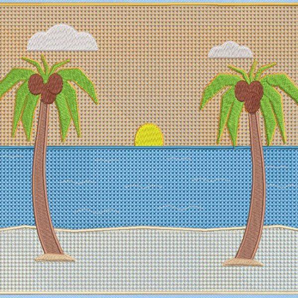 coqueiros na praia. Projeto de bordado à máquina de dois coqueiros majestosos na praia, um convite para viajar e férias. Quadro 20 x 20/20 x 30. Formatos de arquivo PES, CSD, EXP, HUS, SHV, VIP, XXX, DST, PCS, JEF, VP3, EMB ... Download imediato após o pagamento.