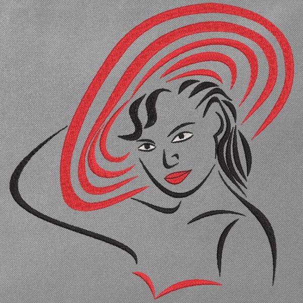 femme avec un chapeau rouge. Motif de broderie machine d'une femme avec un chapeau rouge très élégant . cadre 10 x 10 /15 x 15 / 20 x 20 . Formats des fichiers PES,CSD,EXP,HUS,SHV,VIP,XXX,DST,PCS,JEF,VP3,EMB… Téléchargement immédiat après votre paiement.