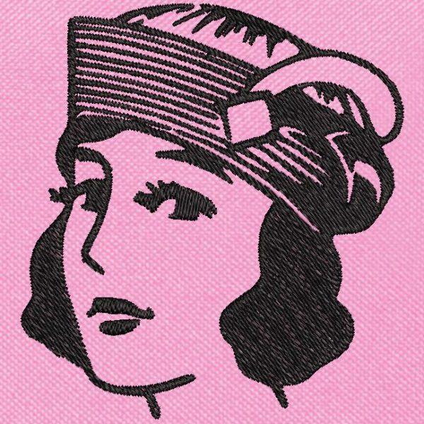 mulher vintage com design de bordado de máquina livre de chapéu