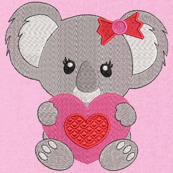 Coala com um coração. Desenho de bordado de máquina de um coala fofinho segurando um coração vermelho e rosa em suas patas. quadro 10 x 10/13 x 18/20 x 20. Formatos de arquivo PES, CSD, EXP, HUS, SHV, VIP, XXX, DST, PCS, JEF, VP3, EMB ... Download imediato após o seu pagamento.