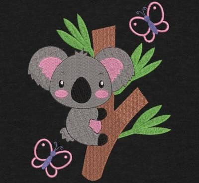 koala sur une branche. Motif de broderie machine d'un koala sur une branche d'eucalyptus avec des papillons qui virevoltent . cadre 10 x 10 / 20 x 20 / 20 x 30 . Formats des fichiers PES,CSD,EXP,HUS,SHV,VIP,XXX,DST,PCS,JEF,VP3,EMB… Téléchargement immédiat après votre paiement.