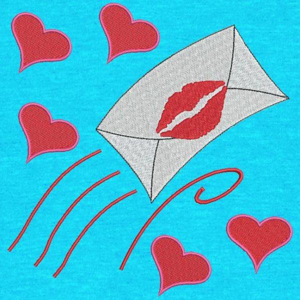 lettre d'amour. Motif de broderie machine d'une lettre d'amour suivie de cœurs qui filent vers la saint valentin. cadre 10 x 10 / 20 x 20 /20 x 20. Formats des fichiers PES,CSD,EXP,HUS,SHV,VIP,XXX,DST,PCS,JEF,VP3,EMB… Téléchargement immédiat après votre paiement.